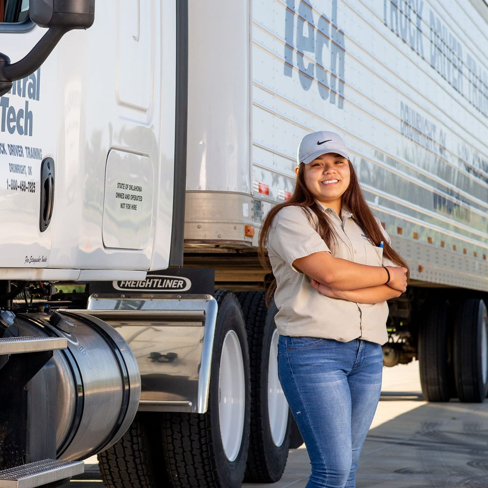 woman in truck driver training at Central Tech