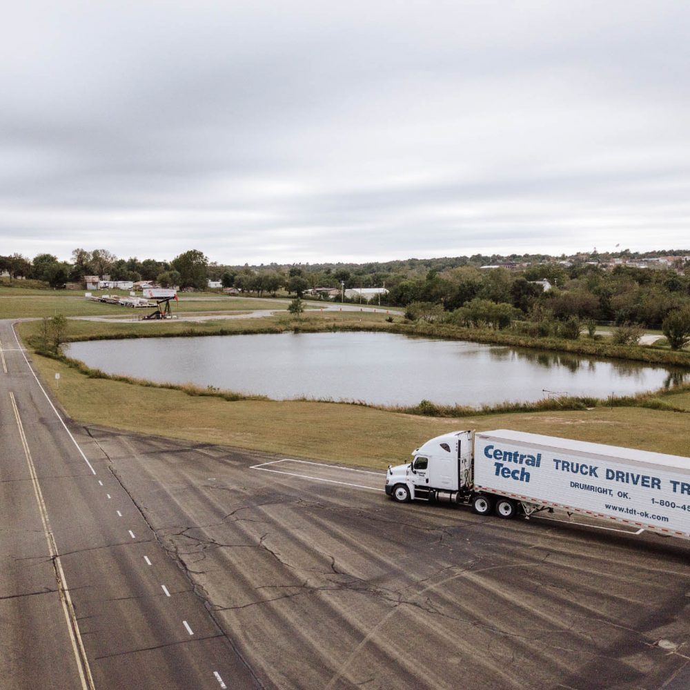 aerial view of a Central Tech truck on the Truck Driver Training driving range in Drumright OK