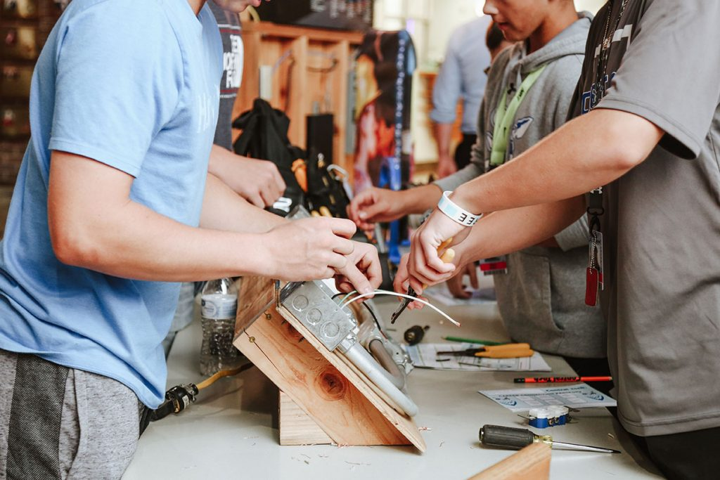 Electric Trades hands-on activity at Central Tech