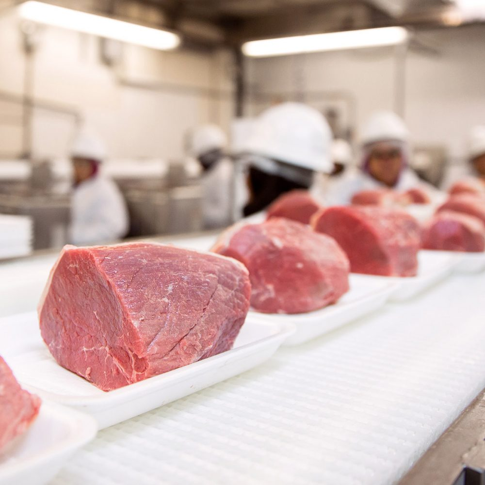 beef cuts at a meat processing facility